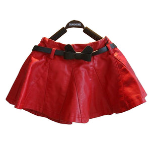 80-130cm kids girls autumn winter clothes leather soft pu  skirts - Idiyka.com
