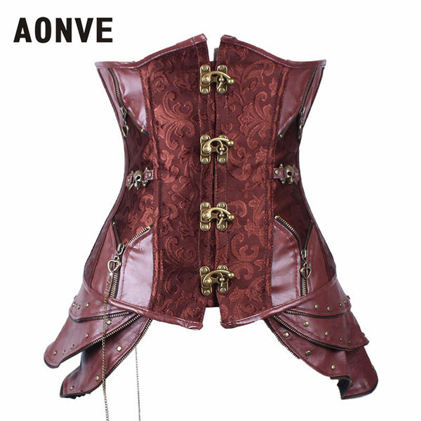 Leather Corset Cincher Front Buckle Brown Idiyka