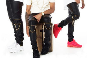 Leather Men Skinny Justin  Clothes Pants Zipper - Idiyka.com