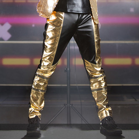 Mens trousers male Black Gold Pu Leather patchwork  pants