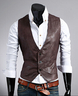 Fashion leather vest men business casual Idiyka