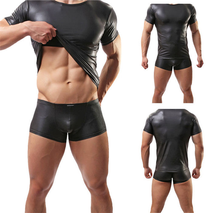Latex Leather Costumes  T-shirt Underwear  for man - Idiyka.com