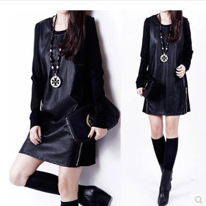 Women Knit Winter Leather Dress - Idiyka.com