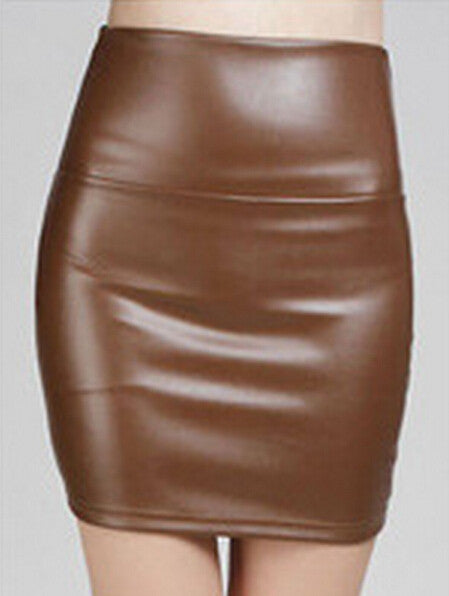 Women  Pu Leather Skirt - Idiyka.com