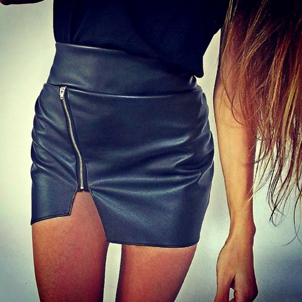 Women Bodycon Skirt PU Leather Mini Short - Idiyka.com