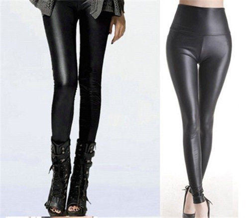 Leather High Waist pants sheath Leggings Idiyka