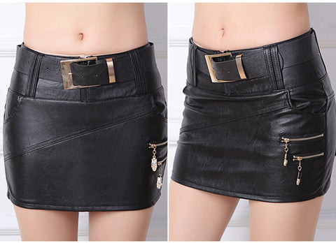 Women Bodycon Skirt PU Leather Mini Short