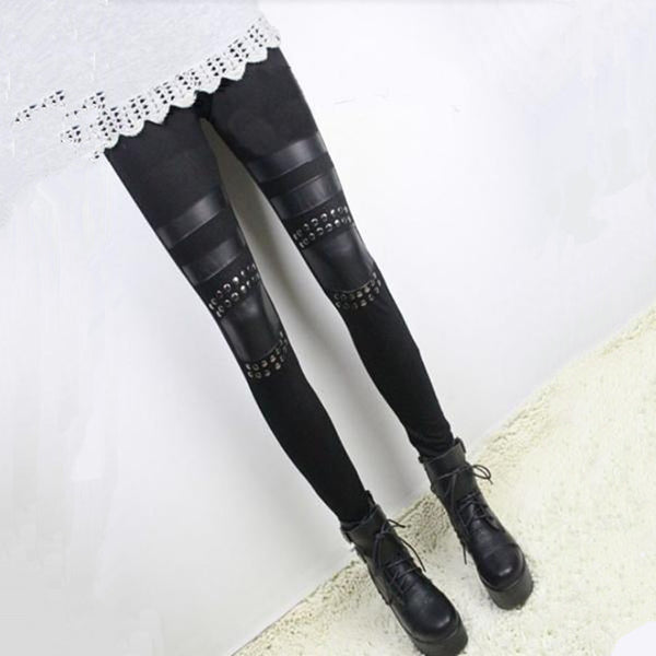 leather Stitching Modal Cotton Leggings For Women - Idiyka.com