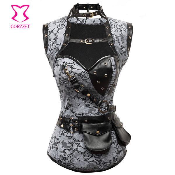 Skull Pattern Red/Black Leather Corselet - Idiyka.com