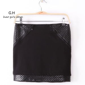 Women Skirts Slim Skirts Black PU leather - Idiyka.com