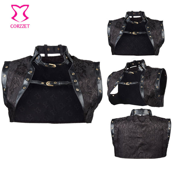 Leather Collar Steampunk Women Corset Jacket Idiyka