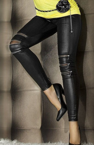 Leather Leggings Zip-front Women leather leggings Idiyka