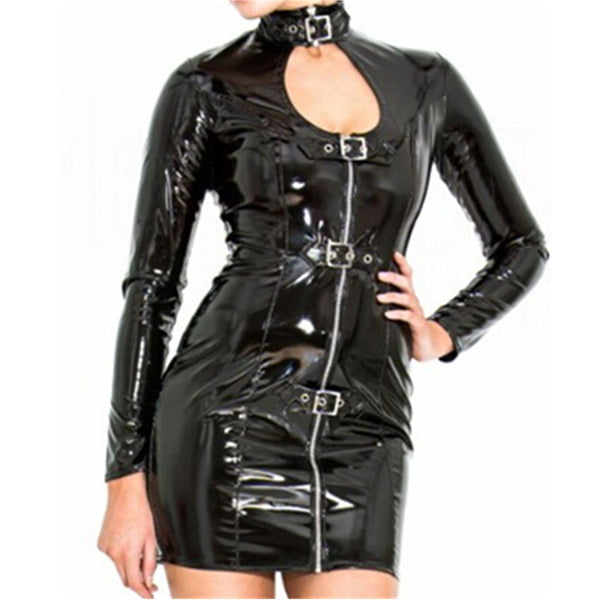 Leather Sexy Dress Latex Bodysuit PVC Idiyka