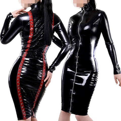 Leather Sexy Dress Latex Bodysuit Idiyka