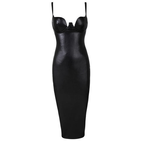 Soft Leather Suspenders Tight PU Evening Party  Dress