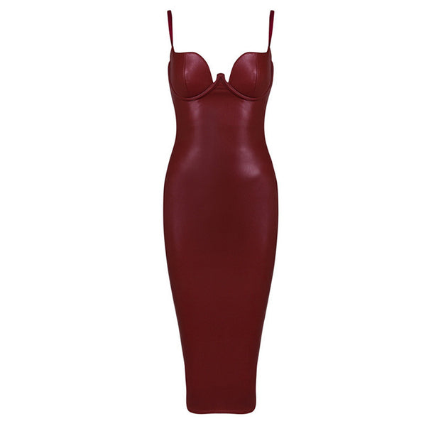 Soft Leather Suspenders Tight PU Evening Party  Dress - Idiyka.com