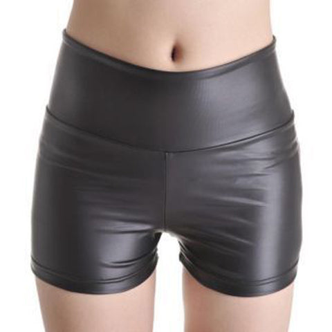 Women Black Leather Shorts