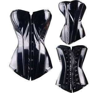 Women Corset Faux Leather Ladies Slimming Lingerie Plastic steel boned Idiyka
