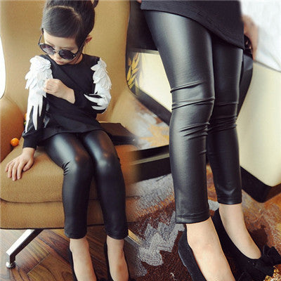 Girls Leggings black Leather thin Pants
