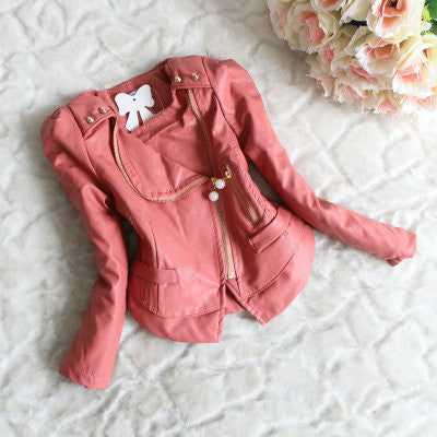 Girls Winter Faux Leather Jacket Coat - Idiyka.com