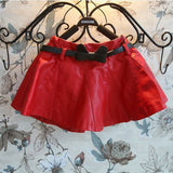 80-130cm kids girls autumn winter clothes leather soft pu  skirts