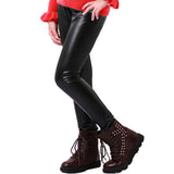 Girl Leggings Elastic Waist Black Skinny Pants Pencil PU  leather