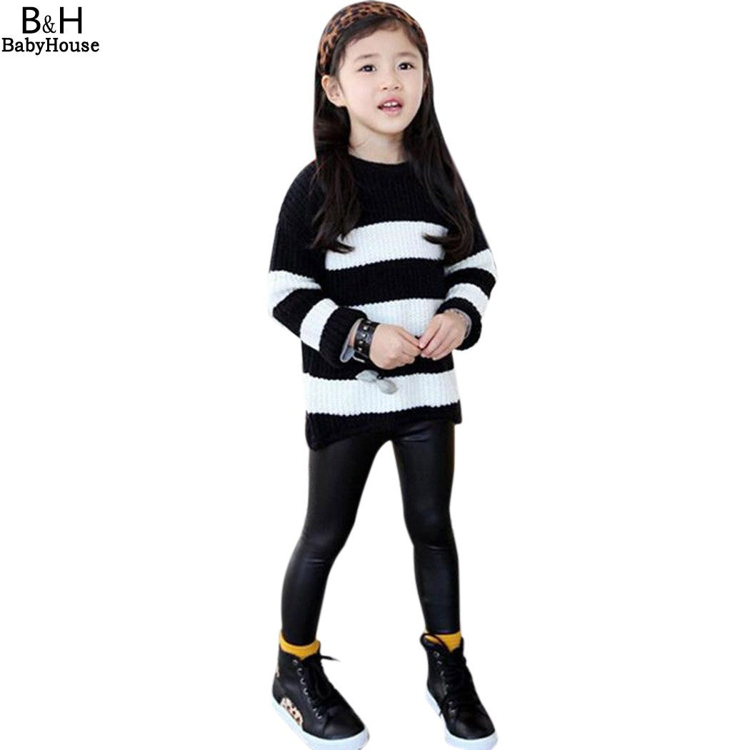 Girl Leggings Elastic Waist Black Skinny Pants Pencil PU  leather - Idiyka.com