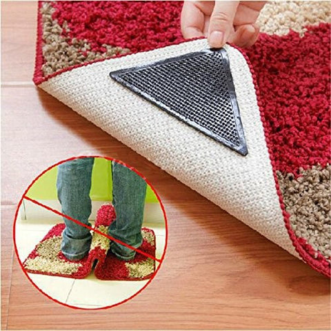 4pcs Rug Carpet Mat Grippers Non Slip Reusable Washable Silicone