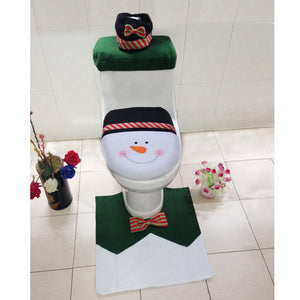 4PCS/Set Snowman Toilet Seat Cover and Rug Bathroom Set Christmas Decor Idiyka