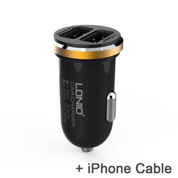 Ldnio Original 5V 2A 2 Port Mini USB Car Charger for iPhone 7 6 Samsung S7 S6 Xiaomi HTC - Idiyka.com