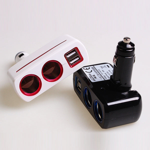 Auto Cigarette Lighter  Power Adapter 2.1A / 1.0A 80W + Dual USB Car Charger LED light - Idiyka.com