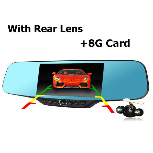 4.3 inch Full HD 1080P Car Rearview Mirror DVR  Night Vision DVR Dual Camera Video Recorder - Idiyka.com