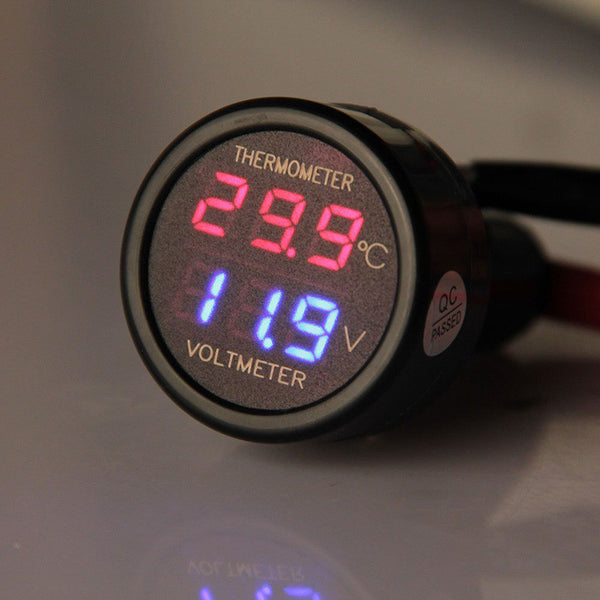 Professional  2 in 1 Digital Voltmeter Thermometer 12/24V Cigarette Lighter - Idiyka.com