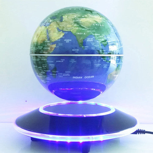 6 Inch Creative Electronic Magnetic Levitation Floating Globe World Map with LED Lights - Idiyka.com