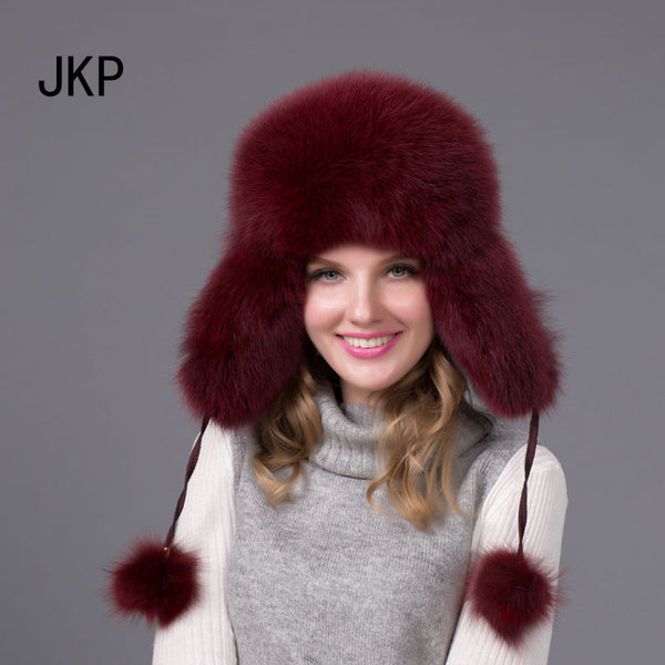 Real Silver fox fur hat men and women ski cap thickened great warm Idiyka