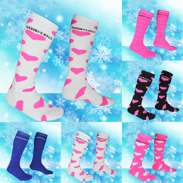 Ladies Winter Ski Snowboarding Hiking Boot Socks Thermal Long Idiyka