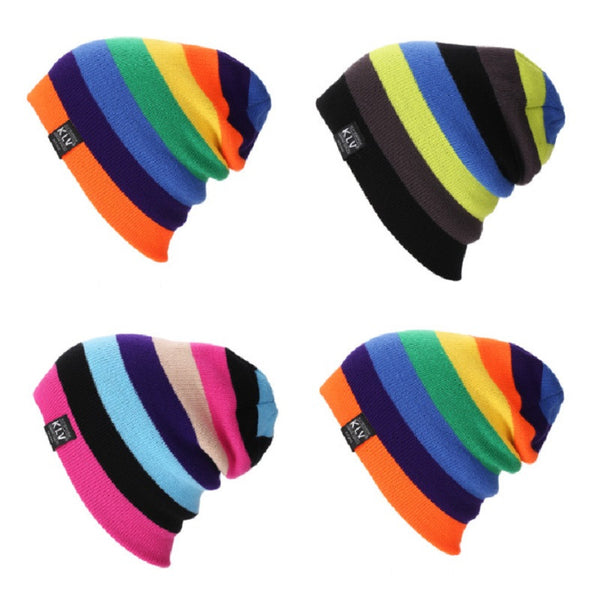 Ski Hat Mixed Color Striped Knitted Beanie Wool Cap Idiyka