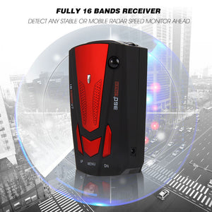 Car Radar Detector 16 Band Voice Alert V7 Anti Radar Detector LED Display 360 - Idiyka.com