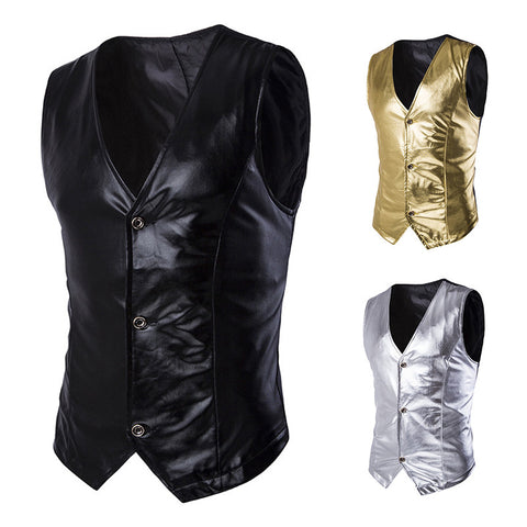 Leather Vests Male V-neck Casual Jacket - Idiyka.com