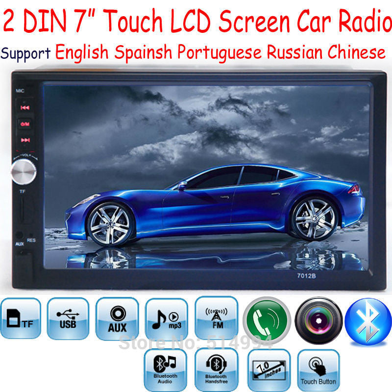 2 Din 7'' inch LCD Touch screen car radio player support 5 Languages  BLUETOOTH - Idiyka.com
