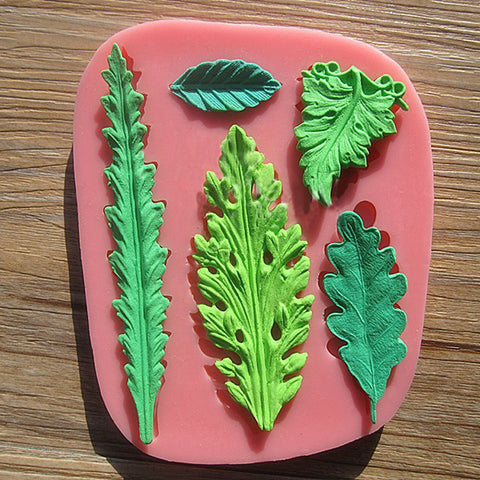 Leaves set fondant cake mold