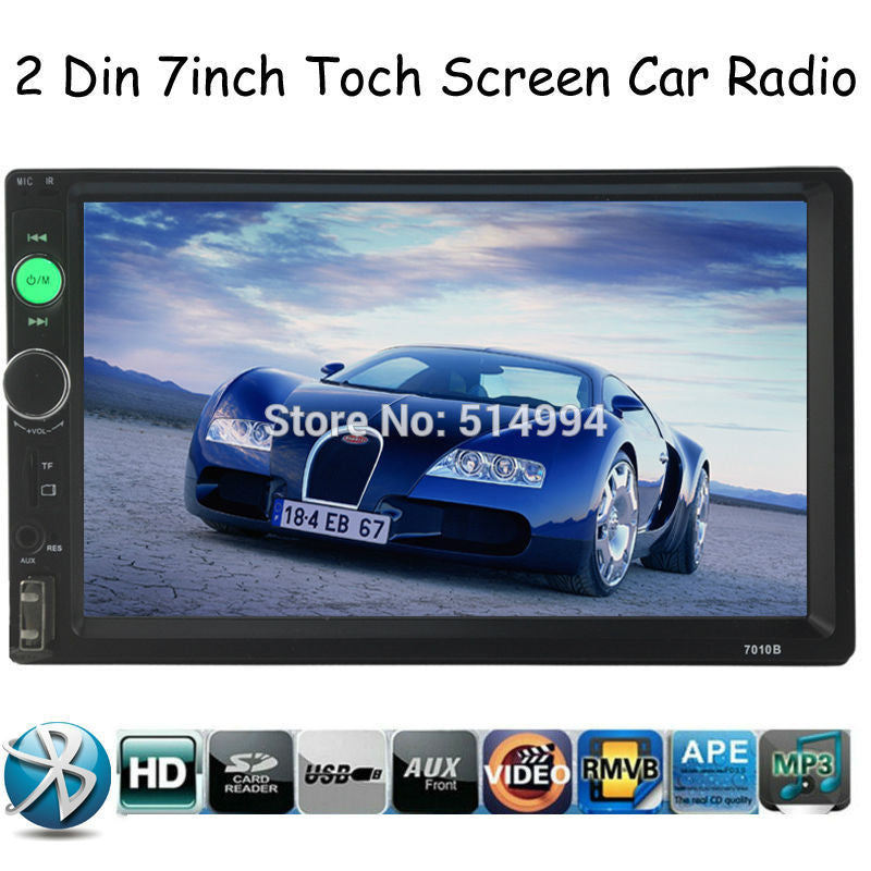 2 Din 7'' inch LCD Touch screen car radio player support BLUETOOTH  1080P - Idiyka.com
