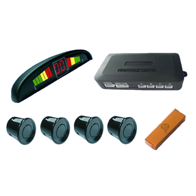 Car LED Parking Sensor Monitor Auto Reverse Radar Detector System + LED Display + 4 Sensors - Idiyka.com