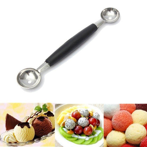 Stalinless Steel Double-end Melon Baller Scoop Fruit Spoon Ice Cream