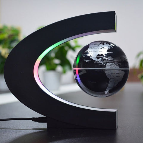 4 Inch C Shape Electronic Magnetic Levitation Floating Globe World Map with LED Lights