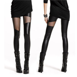 Leather Leggings Elastic Pencil Pants For Women Idiyka