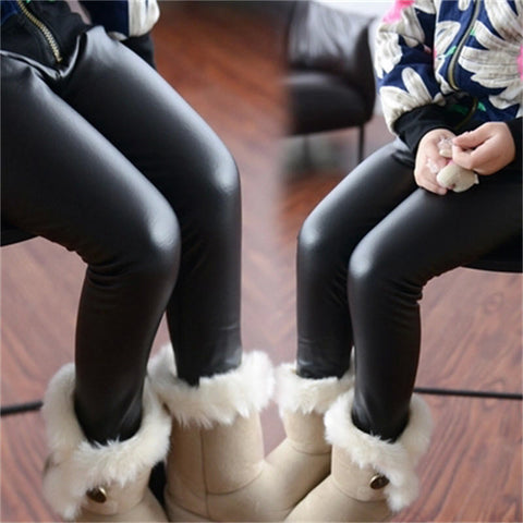 Girls Leggings Leather Pants - Idiyka.com