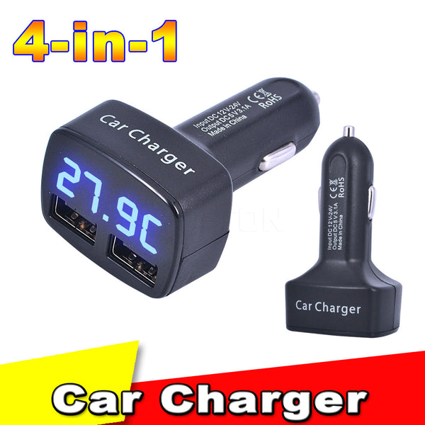 4 in 1 Car Charger Dual USB DC 5V 3.1A Universal Adapter With Voltage - Idiyka.com
