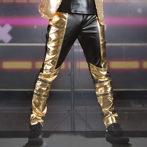 Mens trousers male Black Gold Pu Leather patchwork  pants - Idiyka.com