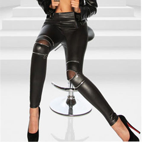 Women Leather Skinny Pants Zipped Leggings